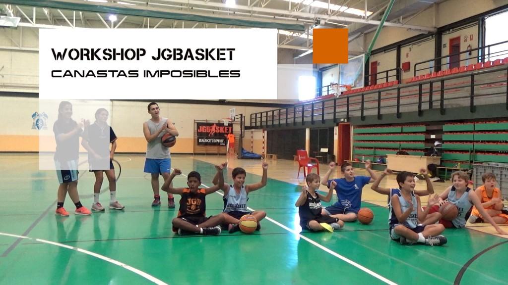Concurso canastas imposibles 2.0 Workshop JGBasket 2015. El reto del medio campo, la grada, la silla, el aro y el carro.