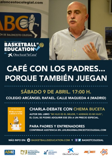 Chema Buceta. Café con los padres. Asociación de baloncesto colegial