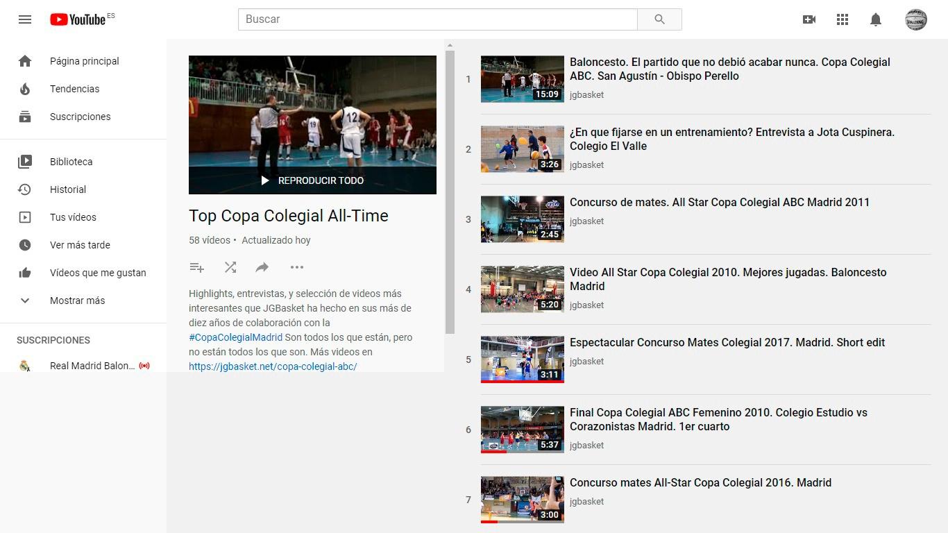 Lista de la selección de los mejores videos de la historia de la Copa Colegial Madrid seleccionados por JGBasket