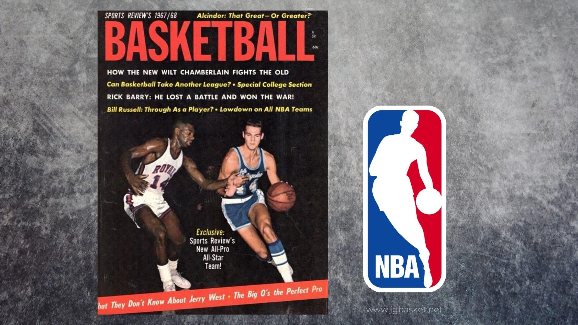 Sports Review Basketball 1967/68, Foto Jugador Jerry West. Logo NBA