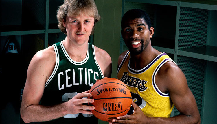 LOS ANGELES - JANUARY 1: Larry Bird #33 of the Boston Celtics poses for a portrait with Magic Johnson of the Los Angeles Lakers at the Great Western Forum on January 1, 1983 in Los Angeles, California. (Photo by Andrew D. Bernstein/NBAE/Getty Images)